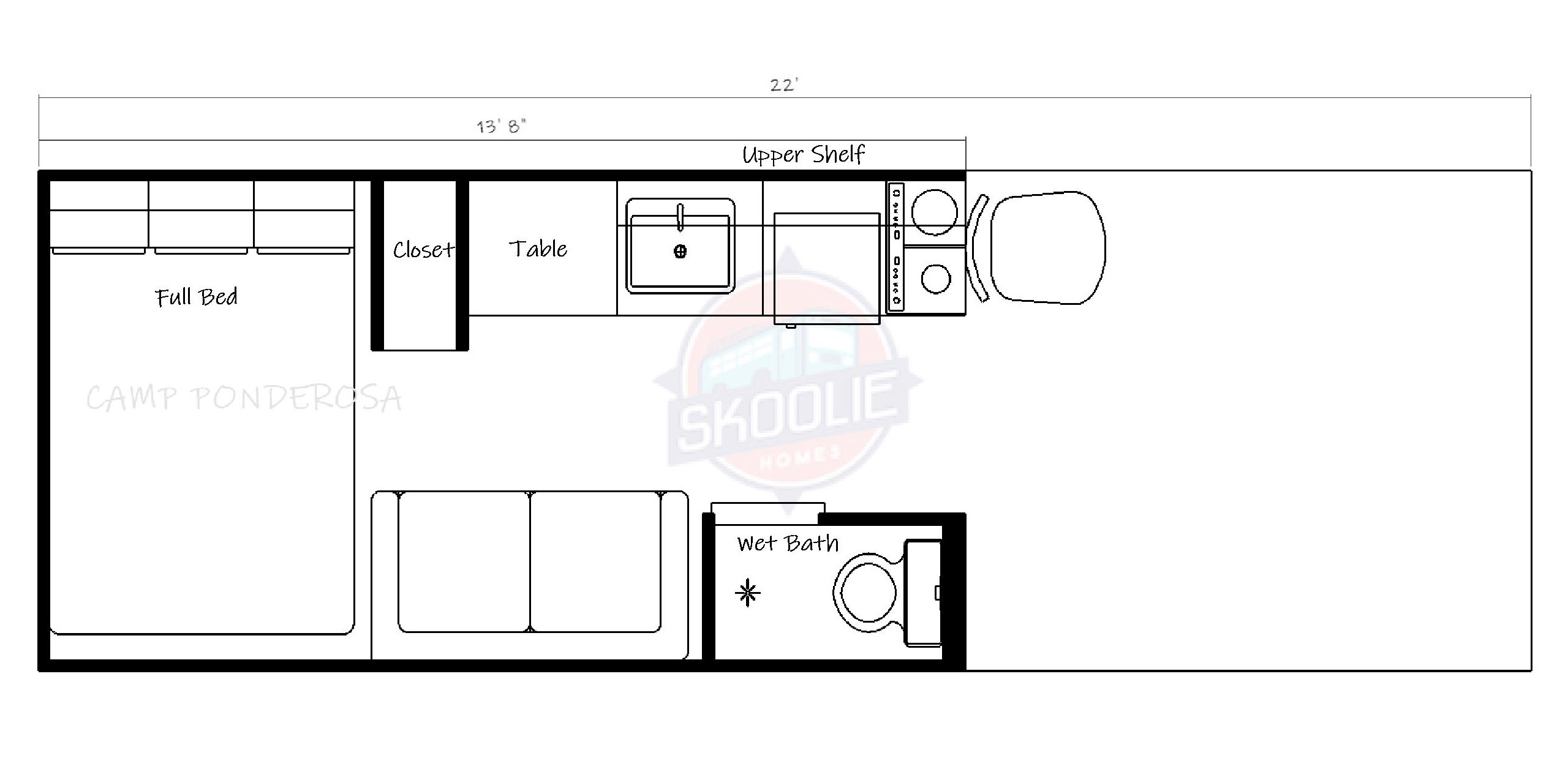 22 Foot Skoolie Homes Conversion Layout