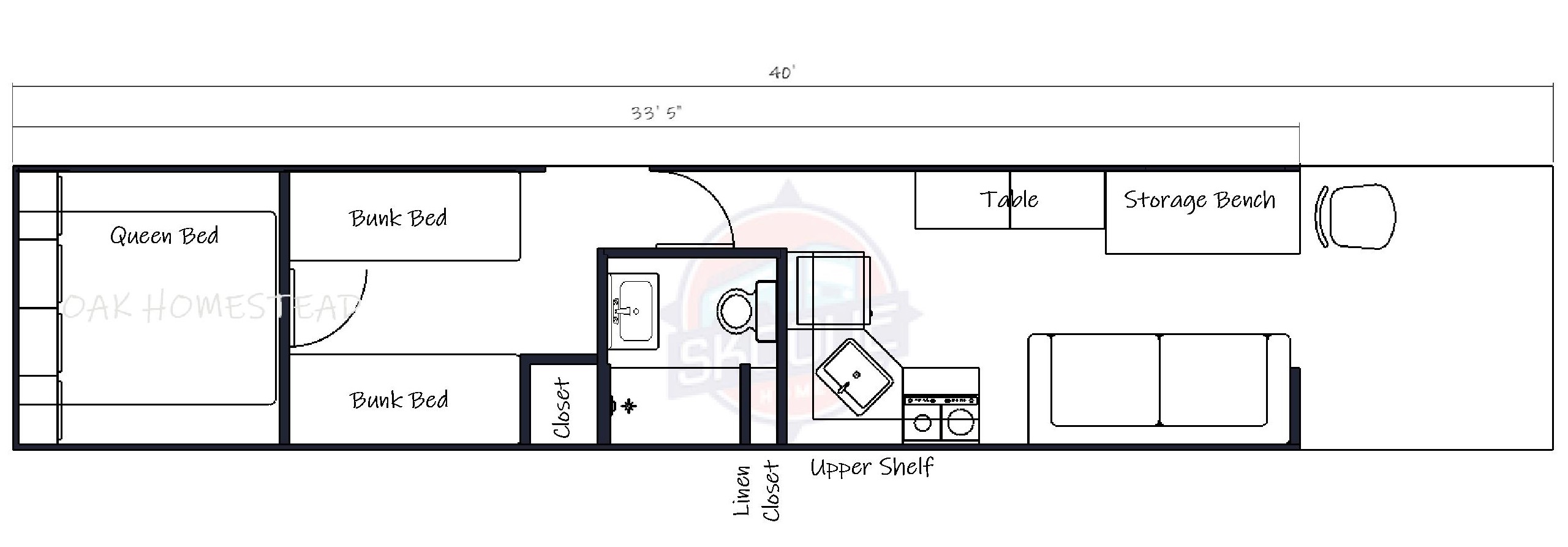 40 foot Skoolie Homes layout