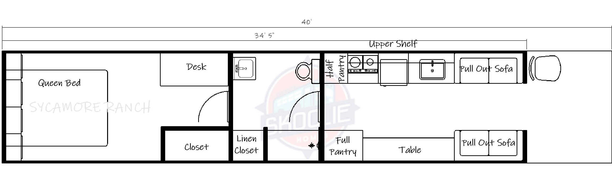 40 foot skoolie floor plan