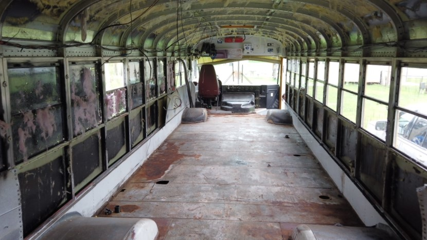interior of bus gutted and ready for conversion